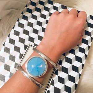 Vince Camuto Silver + Blue Gem Statement Bracelet